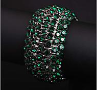 abordables -Large bracelet Femme Multirang Cristal Blanc Imitation Diamant Amour Classique Le style mignon Bracelet Bijoux Blanche Rouge Vert Rond pour Mariage Soirée Quotidien