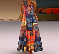 abordables -robe fourreau grande taille femme maxi longue robe rouge orange sans manches imprimé patchwork imprimé automne col en v vintage 2021 s m l xl xxl 3xl 4xl 5xl