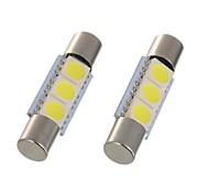 abordables -2pcs 28mm 29mm led feston lumière c5w 6614f ts-14v1c voiture intérieur lampe 3 smd 5050 blanc au xénon pour voiture vanity miroir lumière dôme lumière lecture lumière
