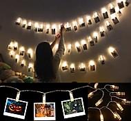 economico -6m Fili luminosi 40 LED 1 set Bianco caldo Impermeabile Decorativo Matrimonio 3 V Batterie AA alimentate / IP44
