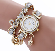 economico -orologio da polso elegante da donna al quarzo con cinturino in metallo e strass in pelle