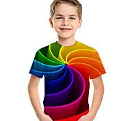 economico -Bambino Bambino (1-4 anni) Da ragazzo maglietta T-shirt Manica corta Con stampe 3D Print Monocolore Con stampe Bambini Estate Top Attivo Essenziale Viola scuro azzurro cielo Verde chiaro