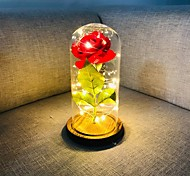 abordables -beauté et la bête rose soie rouge a mené des lumières a duré pour toujours dans le dôme en verre sur la base en bois cadeau pour la Saint Valentin anniversaire de mariage anniversaire