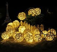 economico -5m Strisce luminose LED flessibili 40 LED 1 set Bianco caldo Decorazione di nozze di Natale Batterie alimentate