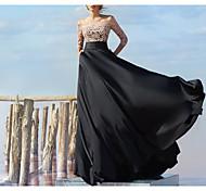 abordables -Trapèze Empire Fiançailles robe ceremonie Robe Epaules Dénudées Demi Manches Longueur Sol Mousseline de soie Dentelle avec Insert en dentelle Appliques 2021