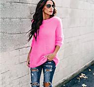 abordables -Femme Couleur Pleine Pullover Manches Longues Pull Cardigans Col Rond Printemps Automne Fuchsia Vert Bleu clair