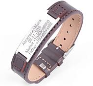 abordables -Personnalisé Cuir / Acier inoxydable / fer Bracelet / Bracelet Coloré Lui / Groom / Collègues Cadeau / Usage quotidien -