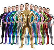 abordables -Costumes zentai brillants Costume de peau Ninja Adulte Spandex Latex Costumes de Cosplay Genre Homme Femme Couleur Pleine Halloween / Collant / Combinaison / Costume Zentai / Collant / Combinaison