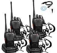 voordelige -4 stks baofeng bf-888s oplaadbare lange afstand 5 w 2800 amh twee manier radio walkie talkies 16 kanaals handheld radio ingebouwde led zaklamp microfoon met oortje (pakket van 4) 4 pak 1 van usb