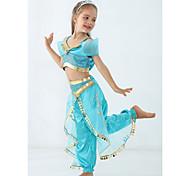 abordables -Princesse Jasmine Costume Fille Thème de conte de fées Utilisation Costumes de cosplay Le thème de la fête Paillettes Polyester