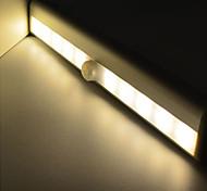 abordables -2 pcs LED infrarouge capteur de corps humain LED sous la lumière de l'armoire blanc / blanc chaud aaa batteries alimenté nuit lumière armoire lampe de couloir 190mmx30mmx16mm