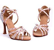 abordables -Femme Chaussures Latines Salon Chaussures de Salsa Danse en ligne Talon Cristal / strass Talon Bobine Rose Sangle croisée