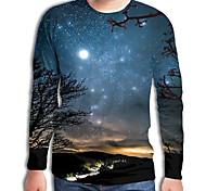 abordables -Homme T-shirt Galaxie Géométrique 3D Grandes Tailles Imprimé Manches Longues Quotidien Hauts Chic de Rue Exagéré Bleu Roi