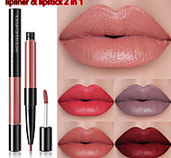 abordables -crayon à lèvres et rouge à lèvres 2 en 1 adorable 10 couleurs double tête imperméable mat longue tenue brillant à lèvres rouge à lèvres liquide