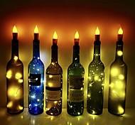 economico -fiamma candela led luci sughero bottiglia di vino fai da te 6 pezzi lucciola luci bottiglia artigianale per feste di matrimonio feste feste decorazioni natalizie
