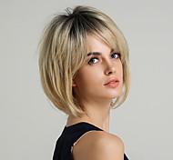 abordables -perruque synthétique pour femmes coupe de cheveux en couches droite naturelle coiffures courtes 2020 avec frange perruque ombre cheveux synthétiques courts 10 pouces blond doré brun # 16