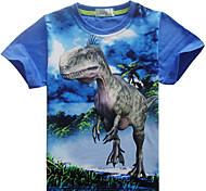 economico -Bambino Da ragazzo maglietta T-shirt Manica corta Dinosauro Stampa 3D Animali Nero Blu Rosso Cotone Bambini Top Estate Essenziale Casuale 3-10 anni