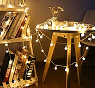 economico -10m Fili luminosi 80 LED 1 set Bianco caldo Decorazione di nozze di Natale Batterie AA alimentate / IP44