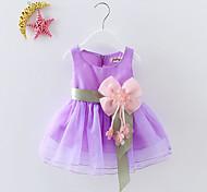 abordables -bébé Fille Doux Soirée / Anniversaire / Festival Couleur Pleine Noeud / Fleur / Multirang Sans Manches Coton Robe Vert / Bébé