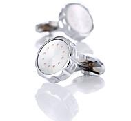 abordables -Boutons de manchettes Classique Mode Cristal Broche Bijoux Argent Pour Mariage Cadeau