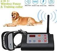 economico -Recinzione elettrica per cani elettrica wireless 2 in 1& collare da addestramento collare da addestramento per cani sistema di contenimento per animali ricaricabile impermeabile