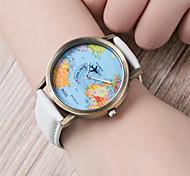 economico -Per donna Orologio braccialetto Mappa del mondo Analogico Quarzo Donne Mappa del mondo schema / Di similpelle trapuntata / Un anno