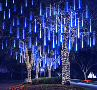 """economico -4 confezioni 30 cm x 8 12 """"luci stringa 576 led luci pioggia meteorica caduta per albero di natale festa festa decorazione esterna impermeabile estensione collegabile"""
