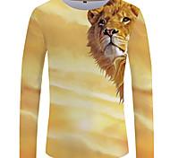 abordables -Homme T-shirt Graphique 3D Animal Grandes Tailles Imprimé Manches Longues Quotidien Hauts Chic de Rue Exagéré Jaune