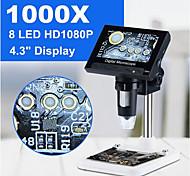 abordables -1000x 2.0mp usb numérique microscope électronique dm4 4.3lcd affichage microscope vga avec 8 led stand pour pcb carte mère réparation