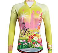 abordables -Femme Miloto Maillot Velo Cyclisme Manches Longues Violet Jaune Rouge Grandes Tailles Botanique Floral Cyclisme VTT Vélo tout terrain Vélo Route Chemise Shirt Maillot Respirable Séchage rapide Des
