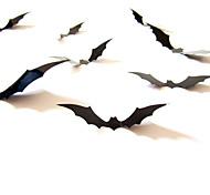 abordables -Halloween fête halloween décor horreur fantôme sticker mural 12 pièces noir 3d bricolage pvc chauve-souris sticker mural décalque maison