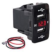 economico -caricatore da auto tipo slot dual usb 3.1a caricabatterie rapido multifunzione con misuratore di tensione per automobili per modelli honda luce verde