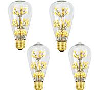 abordables -4 pièces 3 W Ampoules à Filament LED 200 lm E26 / E27 ST64 47 Perles LED SMD Intensité Réglable Décorative Étoilé Blanc Chaud 220-240 V