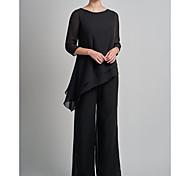 abordables -Tailleur-pantalon Robe de Mère de Mariée  Grande Taille Elégant Bijoux Longueur Sol Mousseline de soie Manches 3/4 avec Dentelle 2021