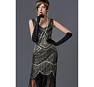 economico -Charleston Nappa Ruggenti anni '20 1920s Il grande Gatsby vestito da vacanza Vestito del flapper Per donna Lustrini Costume Dorato / Verde / nero / Black + Golden Vintage Cosplay Feste Graduazione