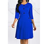 abordables -Femme Robe Trapèze Robe Longueur Genou Noir Violet Rouge Vert Bleu Roi Manches 3/4 Col Rond chaud Rétro Vintage S M L XL XXL