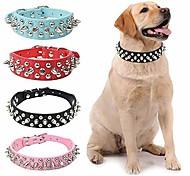 abordables -Chien Colliers Ajustable / Réglable Cloutées faux cuir Petit Chien Chien moyen Grand chien Blanche Noir Violet Rouge Rose