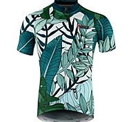 economico -21Grams Botanico floreale Hawaii Per uomo Manica corta Maglia da ciclismo - Verde Bicicletta Maglietta / Maglia Superiore Asciugatura rapida Traspirazione umidità Traspirante Gli sport Estate 100
