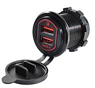 economico -5v qc3.0 caricabatterie per auto doppie porte USB in lega di alluminio tensione di uscita per camion auto moto suv