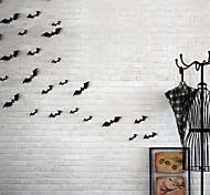 abordables -12 pièces / ensemble décoration d'halloween 3D noir pvc chauve-souris bricolage décor autocollant mural Halloween fête bar décalcomanies effrayant fête d'halloween