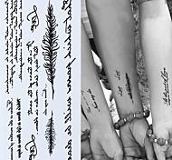 economico -3pcs adesivi per tatuaggi temporanei con parole inglesi adesivi neri per tatuaggi body art con piume impermeabili per tatuaggi temporanei