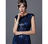 economico -Il grande Gatsby Charleston Ruggenti anni '20 1920s vestito da vacanza Vestito del flapper Abito da cocktail Da principessa Per donna Con lustrini Nappa Costume Blu nero / Rosso + nero / D'oro + nero