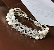 abordables -Bracelet en cristal Femme Double Tour Perle d'eau douce Perle Béni Mode Le style mignon Bracelet Bijoux Blanche pour Vacances