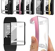 abordables -pour fitbit charge 3 bracelet tpu ultra-mince étui de protection couvercle transparent