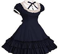 abordables -Gothique Lolita École Lolita Volants Tenus de Soubrette Princesse Robe Robe de bal Coton Femme Fille Japonais Costumes de Cosplay Noir / Rouge / Bleu Rétro Manches Courtes Mancheron Mi-long