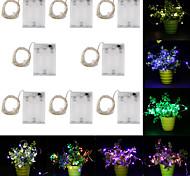 economico -5m Fili luminosi 50 LED 8pcs Bianco caldo Colori primari Bianco Creativo Nuovo design Feste Batterie alimentate
