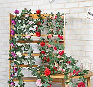 abordables -1 pcs artificielle rose vigne 16 brique pierre rose fausse fleur rotin chambre salle à manger plafond fleur décoration murale vigne