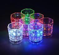 abordables -Veilleuses 1 pc rainbow clignotant allumer des verres à vin avec Ampoules LED lumières rougeoyantes coupe du vin bière pour discothèque bar fête ktv noël 7 couleurs 170 ml