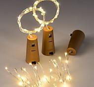 economico -2m Strisce luminose LED flessibili Fili luminosi 20 LED 3 pezzi Bianco caldo Luce fredda Blu Decorazione di nozze di Natale Batterie alimentate