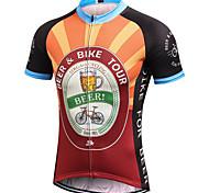 abordables -21Grams Homme Manches Courtes Maillot Velo Cyclisme Noir / Orange. Rétro Nouveauté Bière Oktoberfest Cyclisme Maillot Sommet VTT Vélo tout terrain Vélo Route Evacuation de l'humidité Séchage rapide